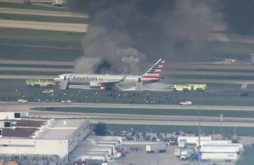 Chicago O'Hare International Airport's airplane caught fire