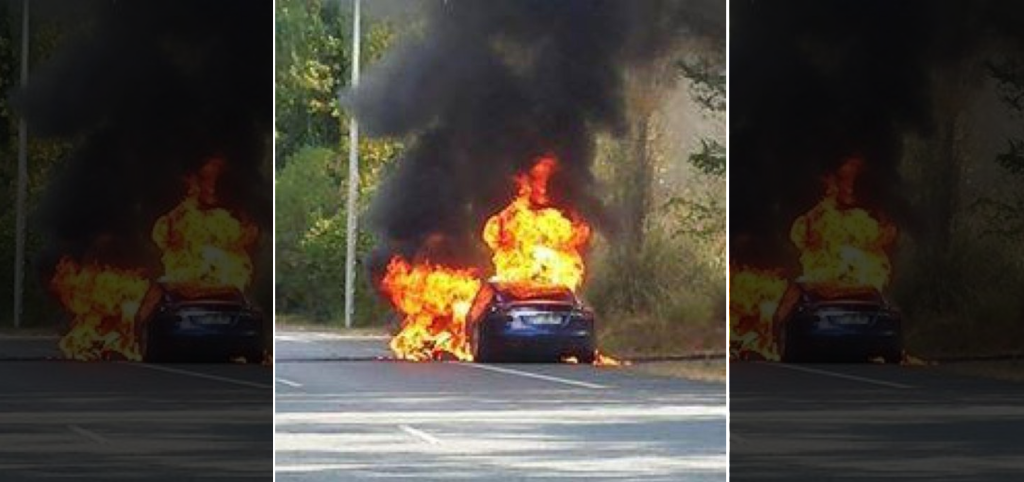Tesla catches fire in France