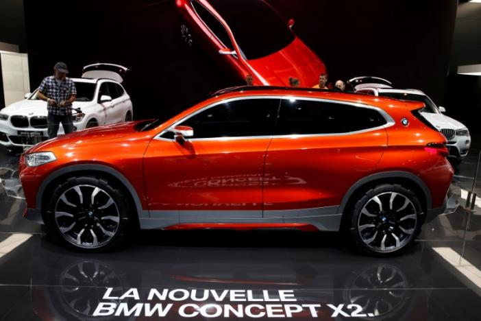The new BMW X2 concept car is displayed on media day at the Paris motor show, in Paris