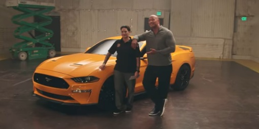 Dwayne The Rock Johnson and Marlene Rodriguez, 2018 Ford Mustang