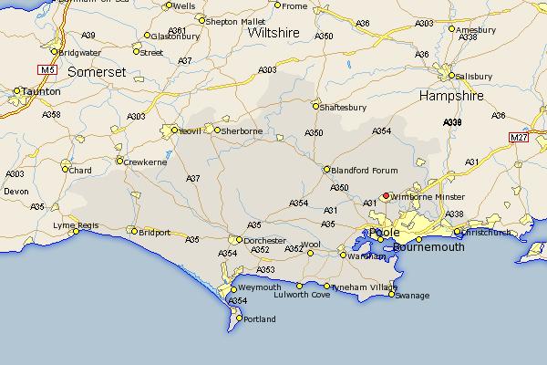 Wimborne map