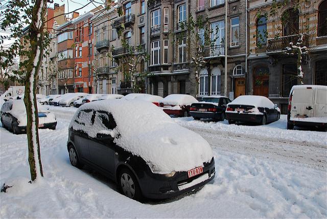 car in dark winter