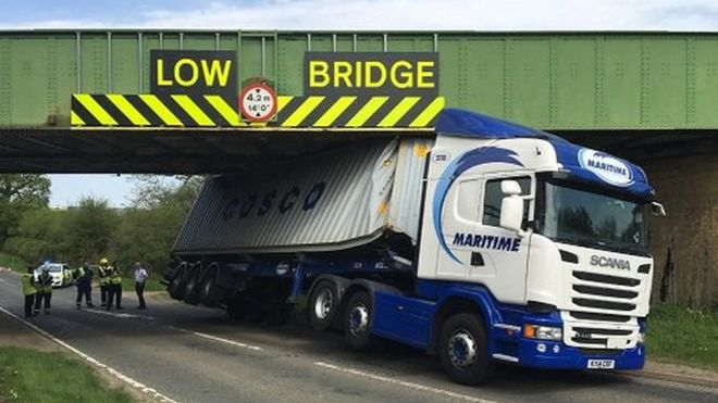 lorry and a low bridge in UK, council ask for banning lorries from using car sat-navs