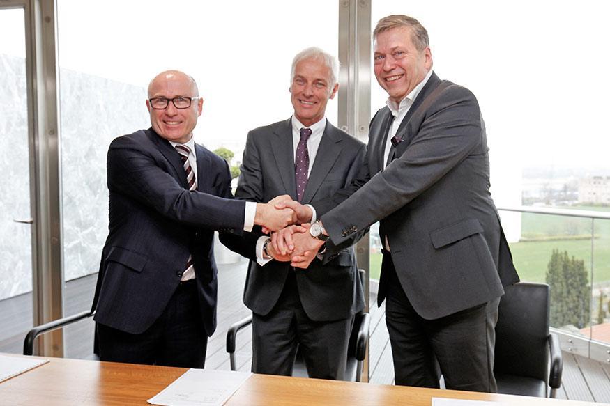 Bernhard Maier, CEO of Skoda Auto, Matthias Müller, CEO of Volkswagen AG and Guenter Butschek, CEO & Managing Director of Tata Motors