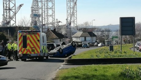 Volkswagen Polo flipped in Dundee Road