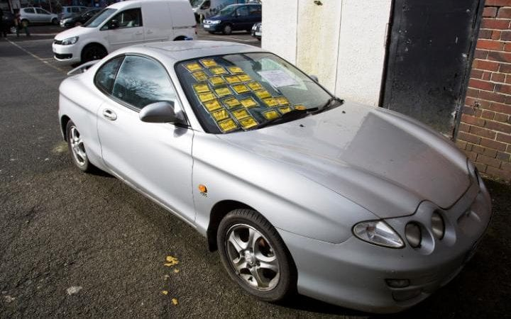 Abandoned Hyundai slapped with 26 parking tickets