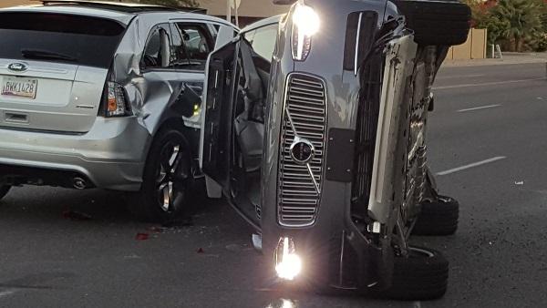 Uber self-driving test car crash Arizona