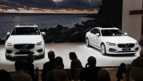 2018 Volvo XC60 (L) and Volvo S90 are displayed at the 2017 New York International Auto Show