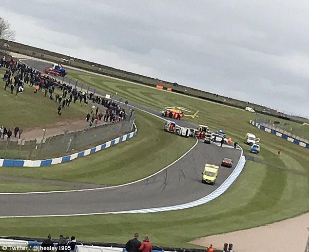 car racing crash Donington Park