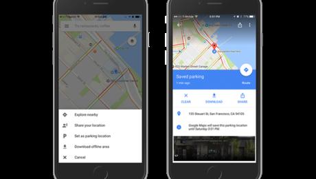 Google Maps car parking feature