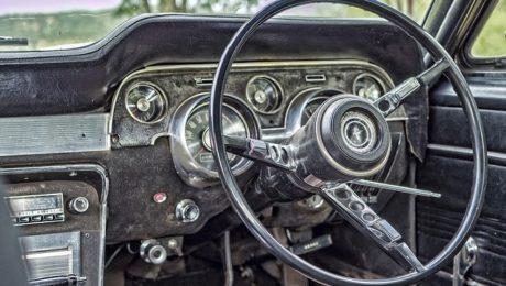 old car steering wheel odometer