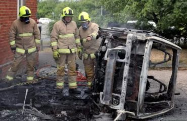 Electric car burnt by flames