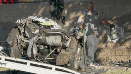 A silver BMW broke because of the accident in Northridge