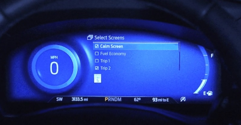 2020 Ford Explorer calm screen mode