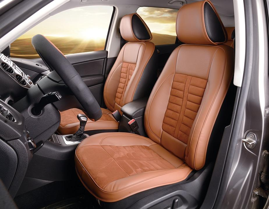Front seat of a car with custom leather seats
