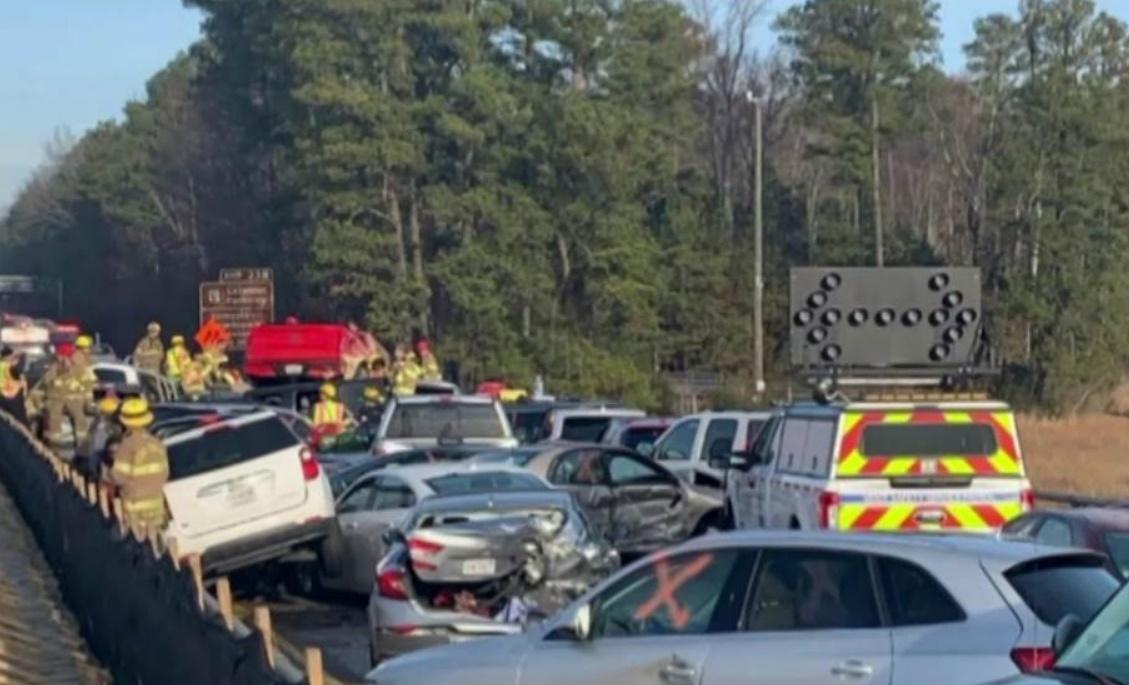 Interstate 64, Virginia, car pileup