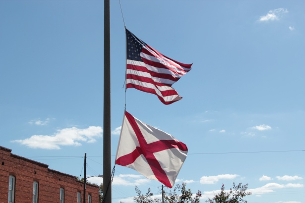 american and alabama flags