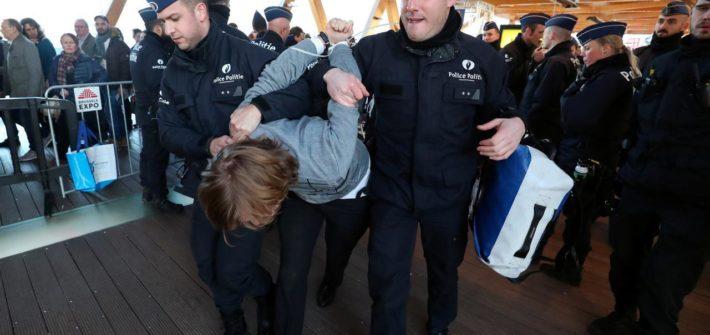 brussels car show protestors arrested