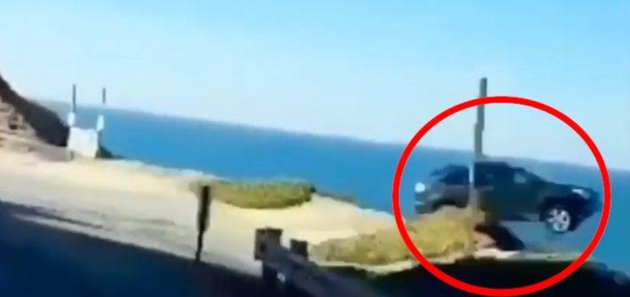 car drives off california cliff