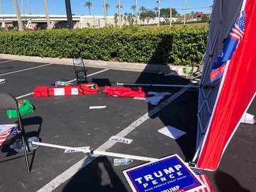 Image result for van crashes GOP tent