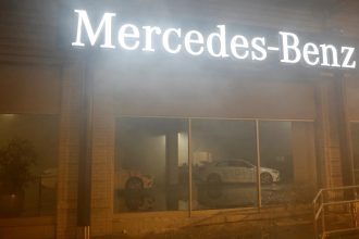 Mercedes Benz showroom vandalized in Oakland, California