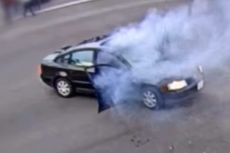 firecracker explodes in a car in riverside, california