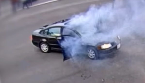 firecracker explodes in a car in riverside, california