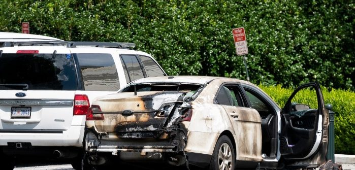Police car torched outside Supreme Court in Washington DC