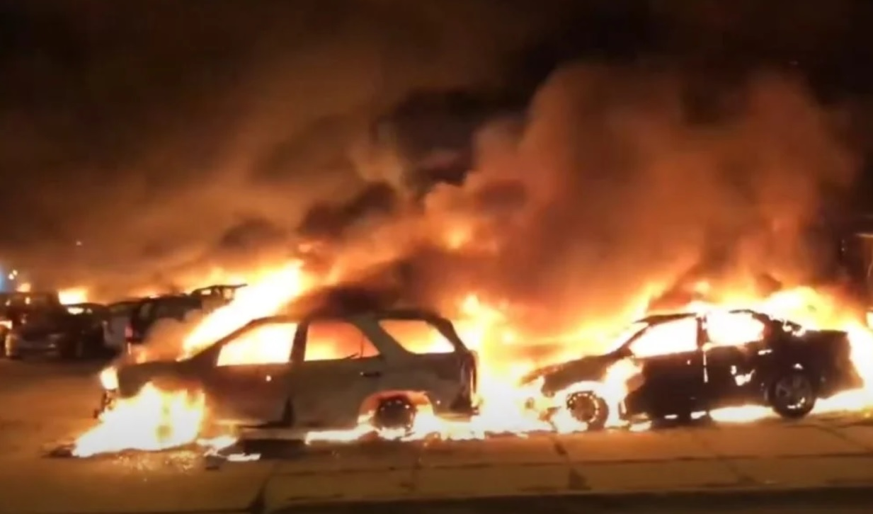 Vehicles burned in Kenosha, Wisconsin