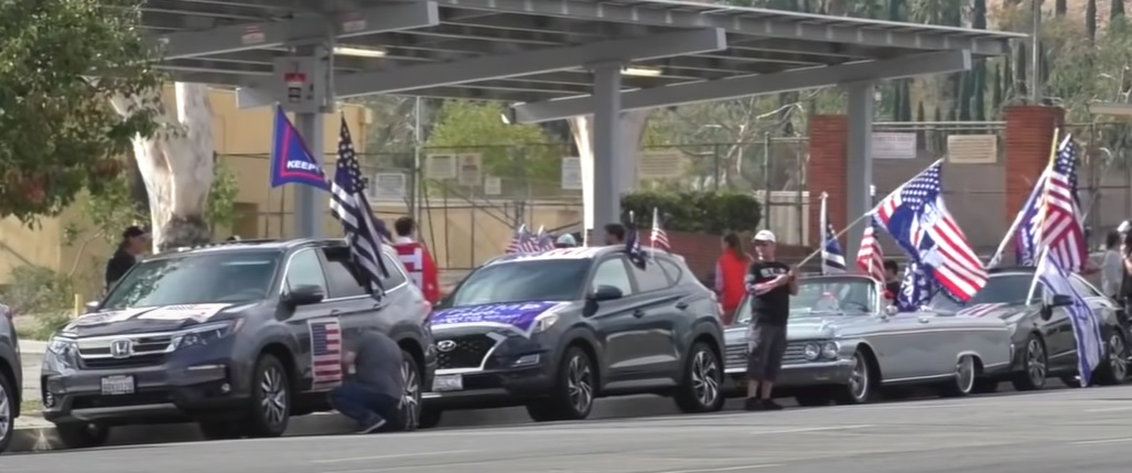 Car rally by Trump supporters in San Fernando Valley, Los Angeles County, California