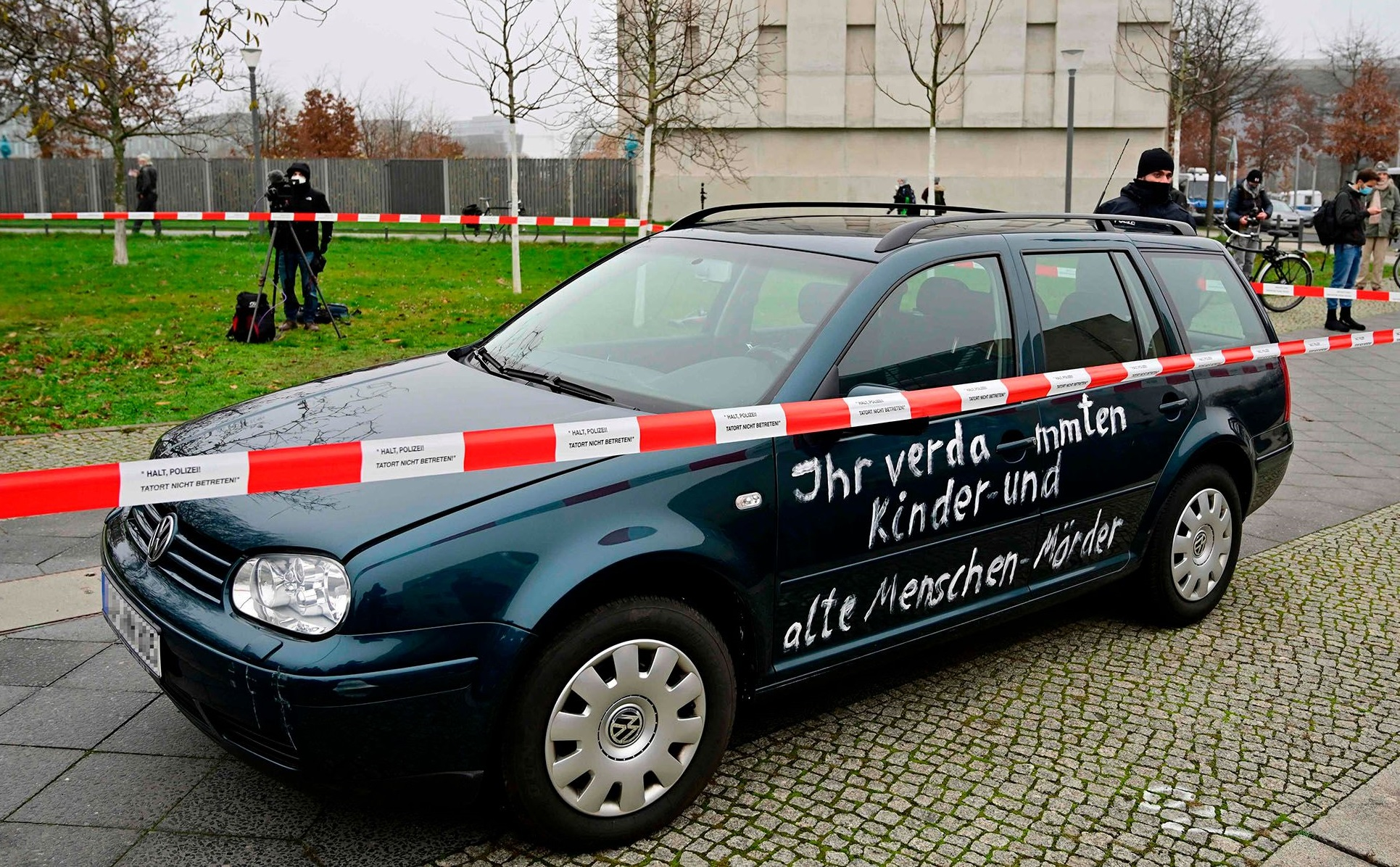Berlin car crash outside Angela Merkel office