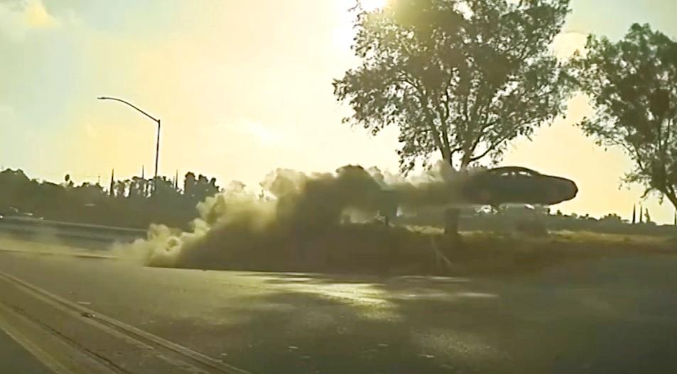 car goes airborne in Modesto, California