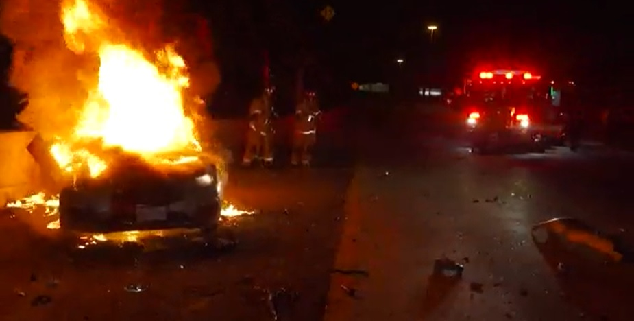 car burst into flames, houston, texas