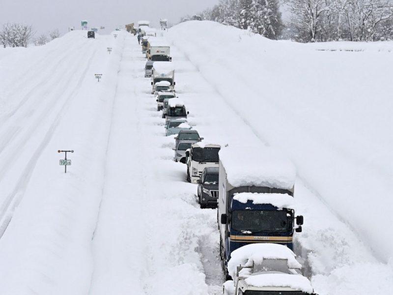 cars in snow in Minamiuonuma, Niigata, Japan