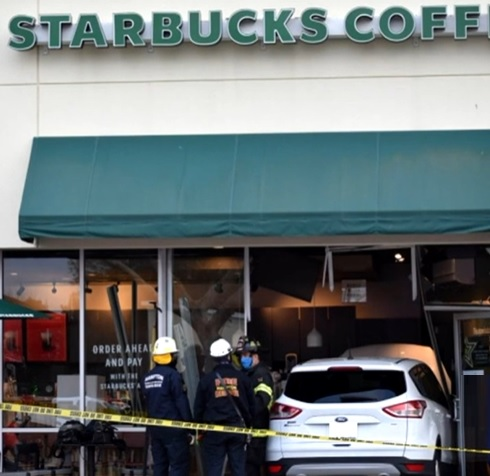 Car crashed into Starbucks in Hampton, Virginia