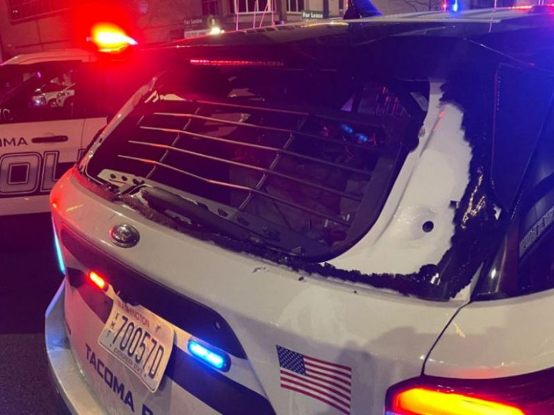 Tacoma officer car after driving into crowd