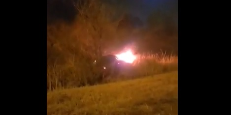 Burning car in Vandalia, Ohio, January 2021