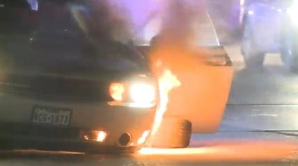 car burst into flames in austin, texas