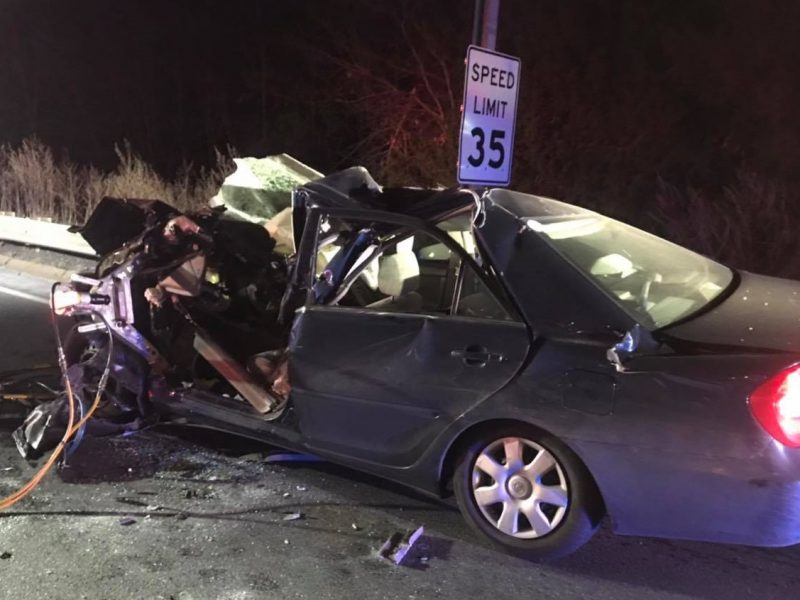 car crashes with tractor-trailer in Massachusetts