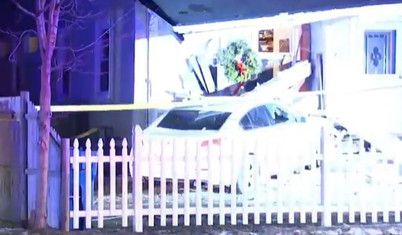 car crashed into Randolph home in Massachusetts