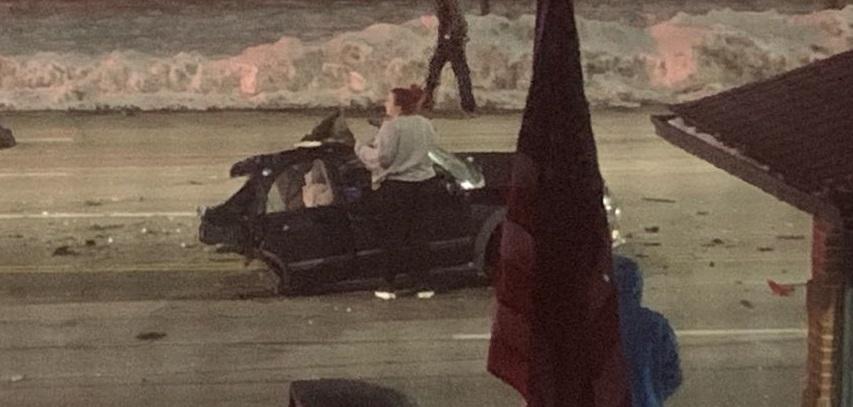 car splits in half in Lakewood, Ohio