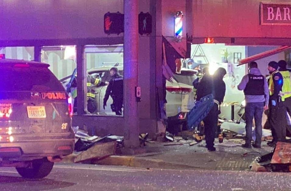 crash into Ave Barber Shop