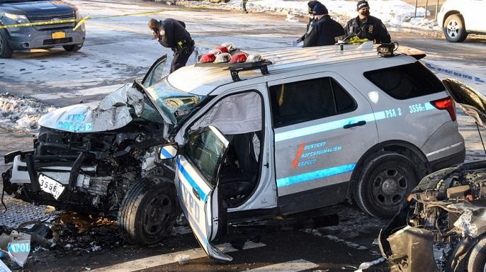 NYPD car crash in brooklyn
