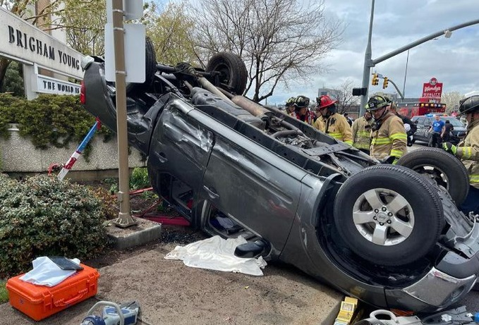 car crashed in entrance of Brigham Young University