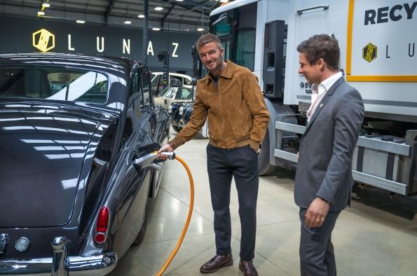 David Beckham with a Lunaz car