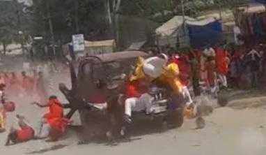 car crash in Chattisgarh during Dussehra procession